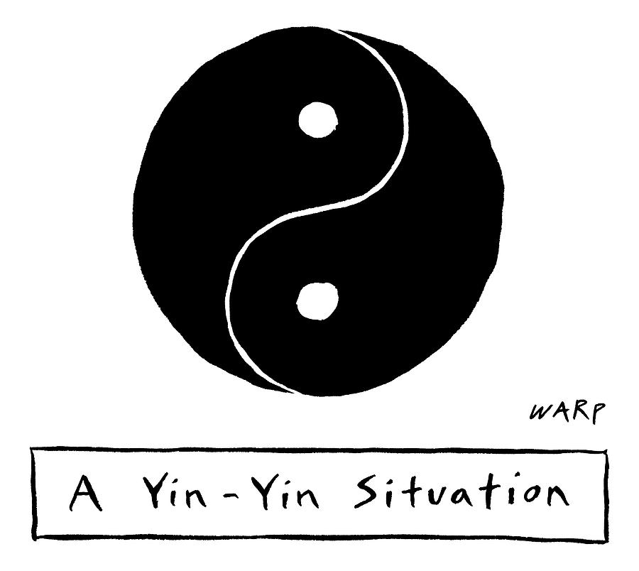 Two Parts Of A Yin Yang That Are Both The Same Drawing by Kim Warp