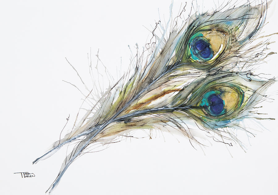 Abstract Painting - Two Peacock Feathers by Tara Thelen