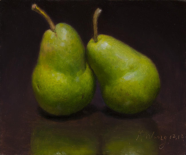 Still Life Painting - Two Pears by Youqing Wang