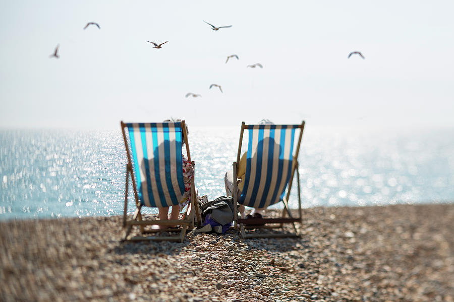 Two People On Deckchairs And Seagulls Photograph by Richard Boll