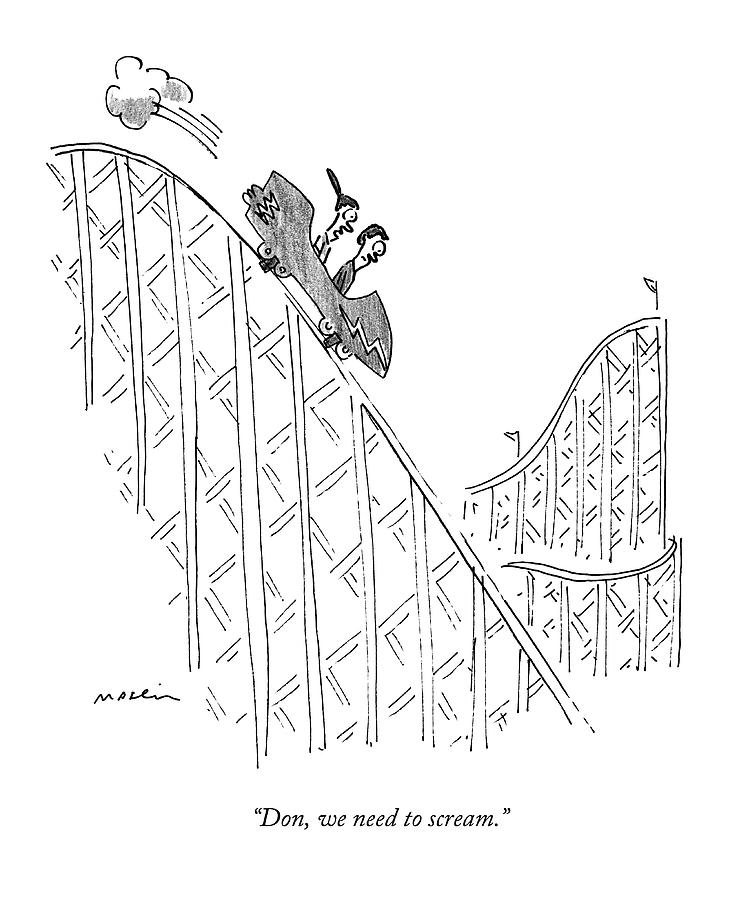 Two People Ride A Roller Coaster Drawing by Michael Maslin