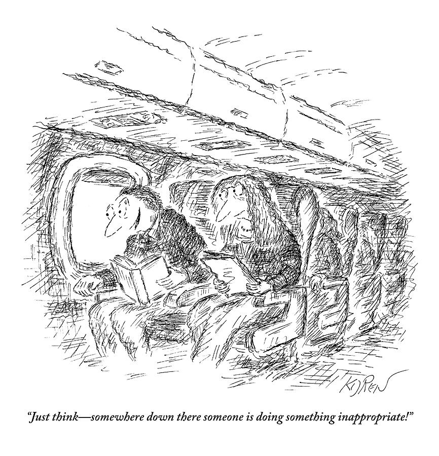 Two People Speaking On An Airplane Drawing by Edward Koren