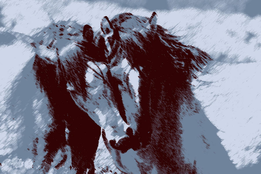 Two Piebald Blue Horses Painting