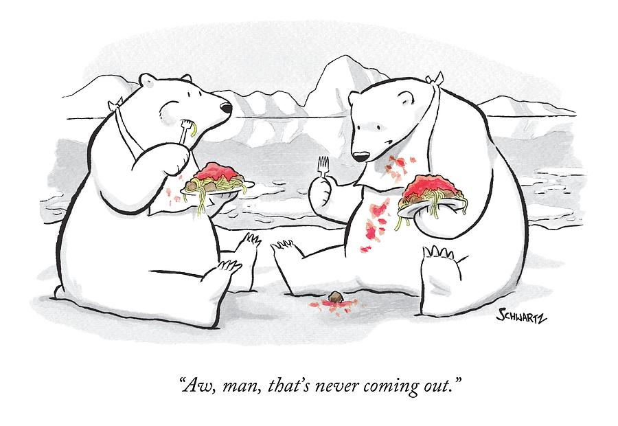 Two Polar Bears Eat Spaghetti And Meatballs.  One Drawing by Benjamin Schwartz