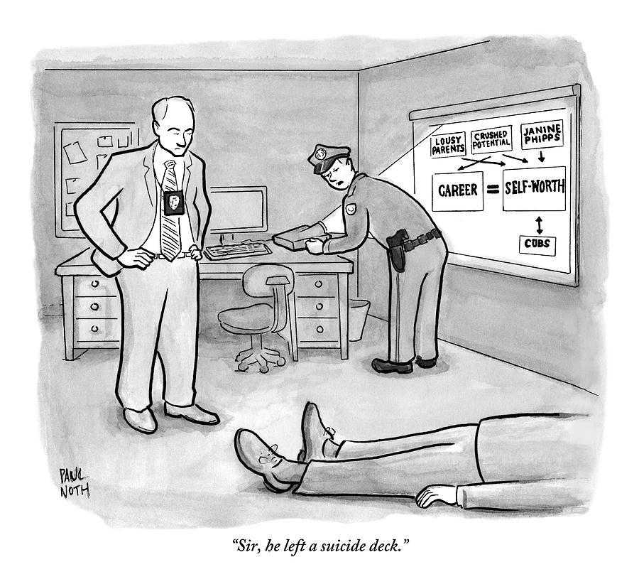 Two Policemen Are Seen Talking Next To A Dead Drawing by Paul Noth