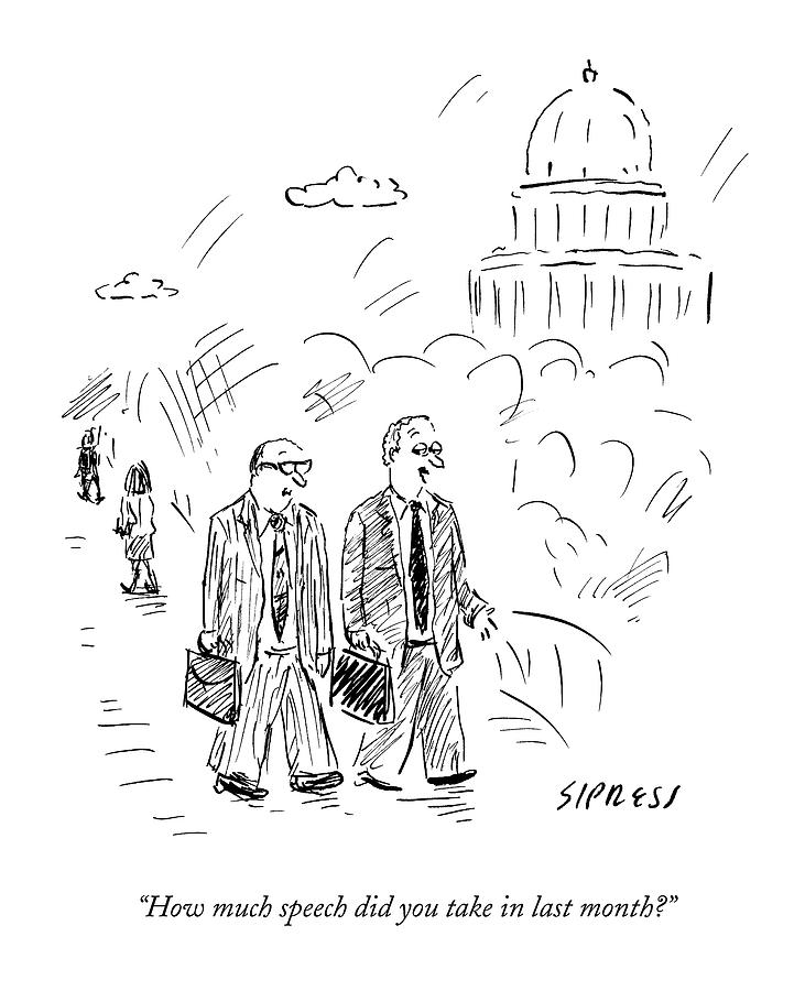 Two Politicians Speak To Each Other. The Capitol Drawing by David Sipress