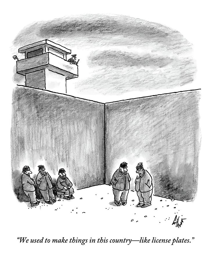 Two Prisoners Talk In The A Prison Yard Drawing by Frank Cotham
