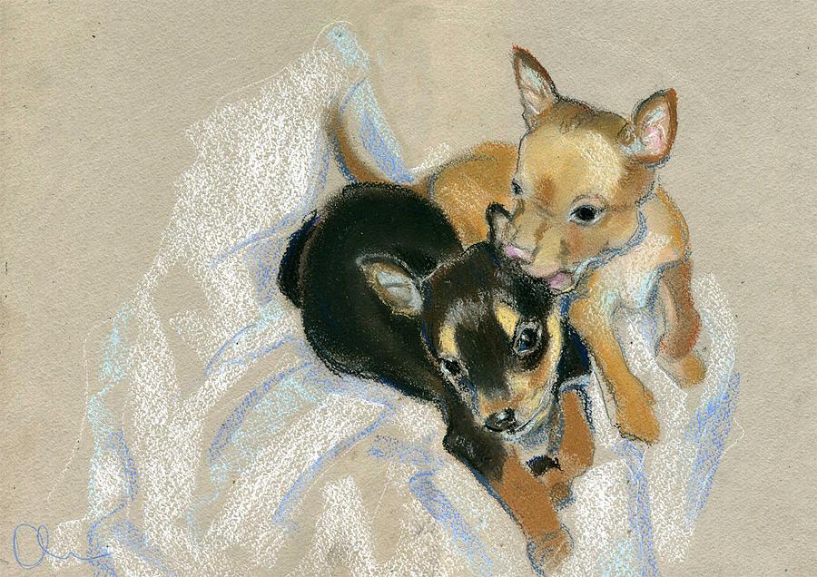 Animals Drawing - Two Puppies by Lelia Sorokina