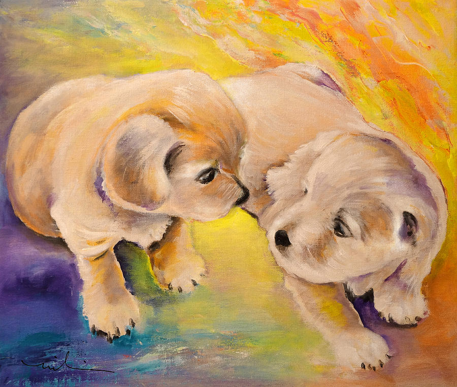 Two Puppies Painting By Miki De Goodaboom