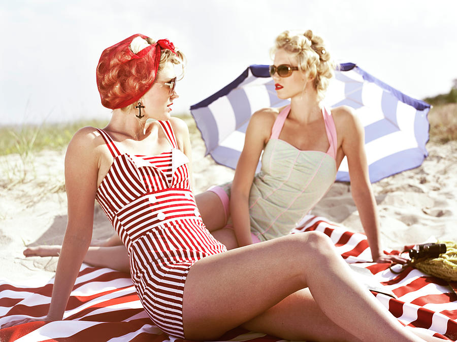 Two Retro Young Women On Beach Photograph by Johner Images