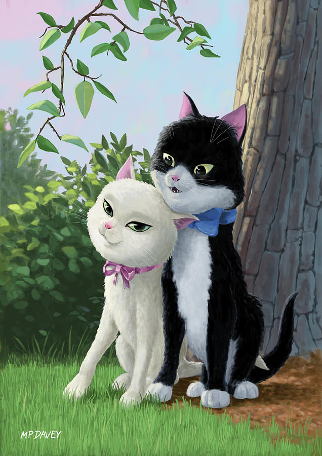 Cat Painting - Two Romantic Cats In Love by Martin Davey