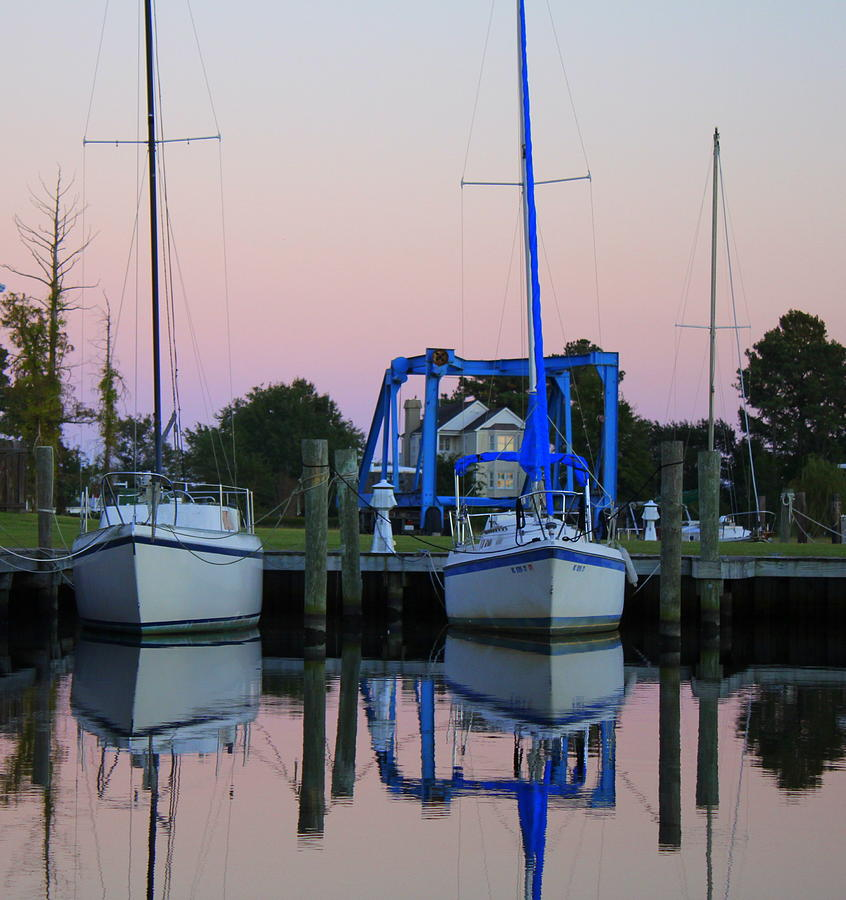 Boat Photograph - Two Sailboats At Dock by Carolyn Ricks