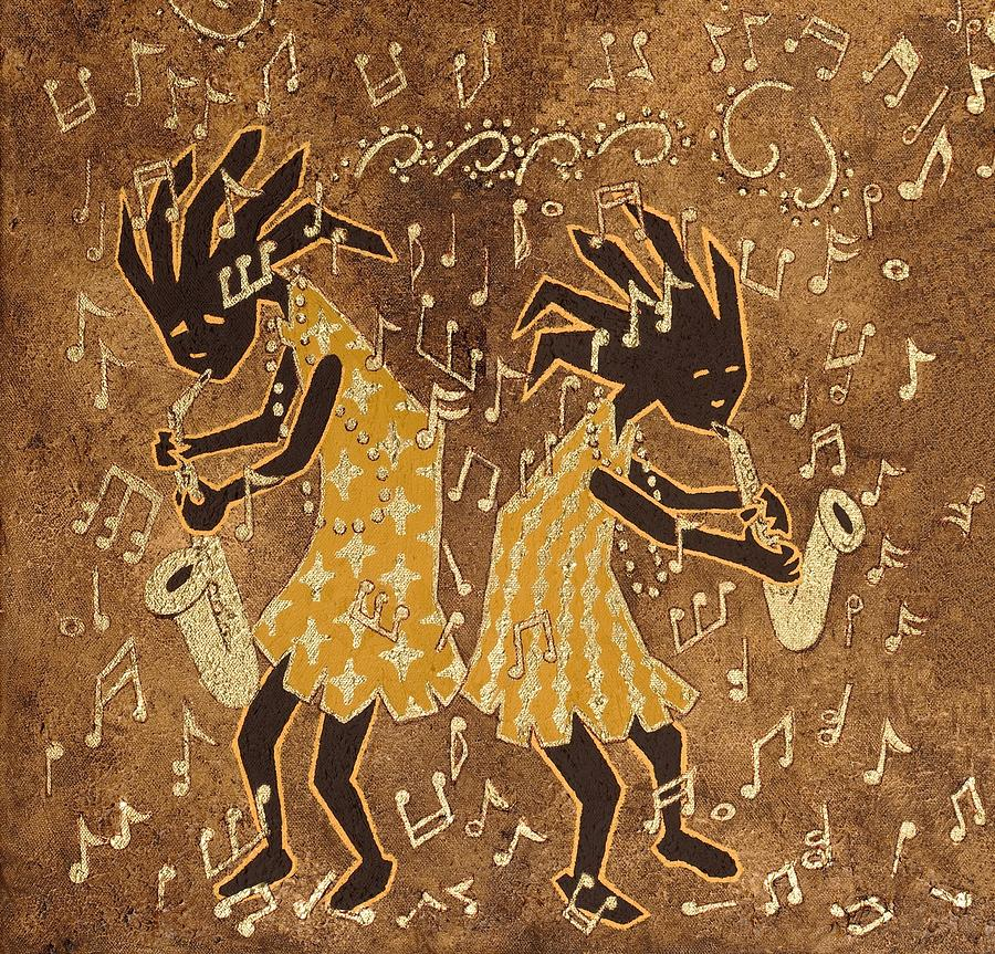 Print Painting - Two Sax Players by Katherine Young-Beck