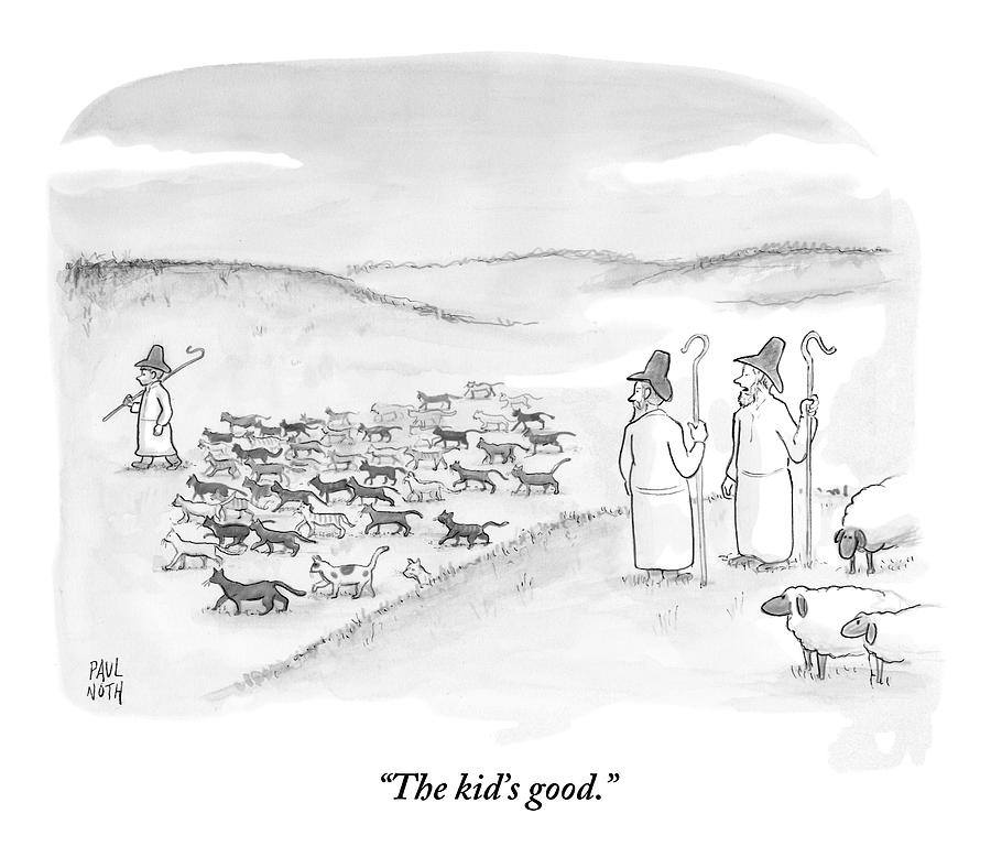 Two Shepherds With Conventional Sheep Look Drawing by Paul Noth