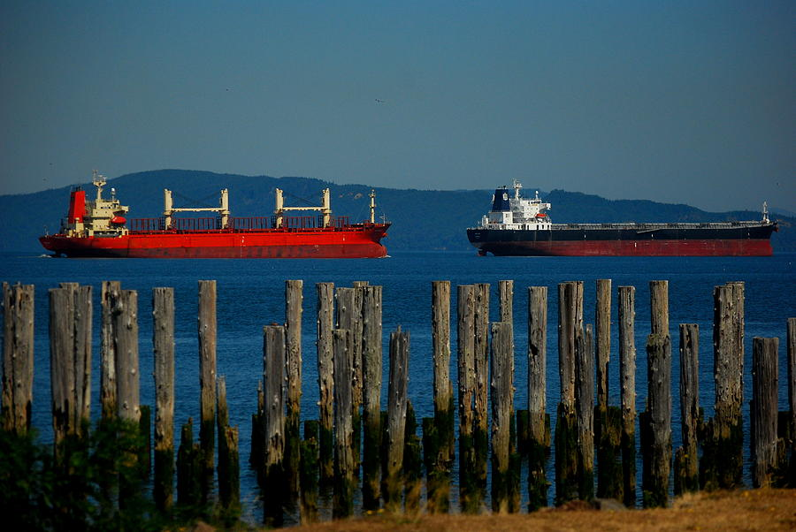 Astoria Photograph - Two Ships Passing In The by Mamie Gunning