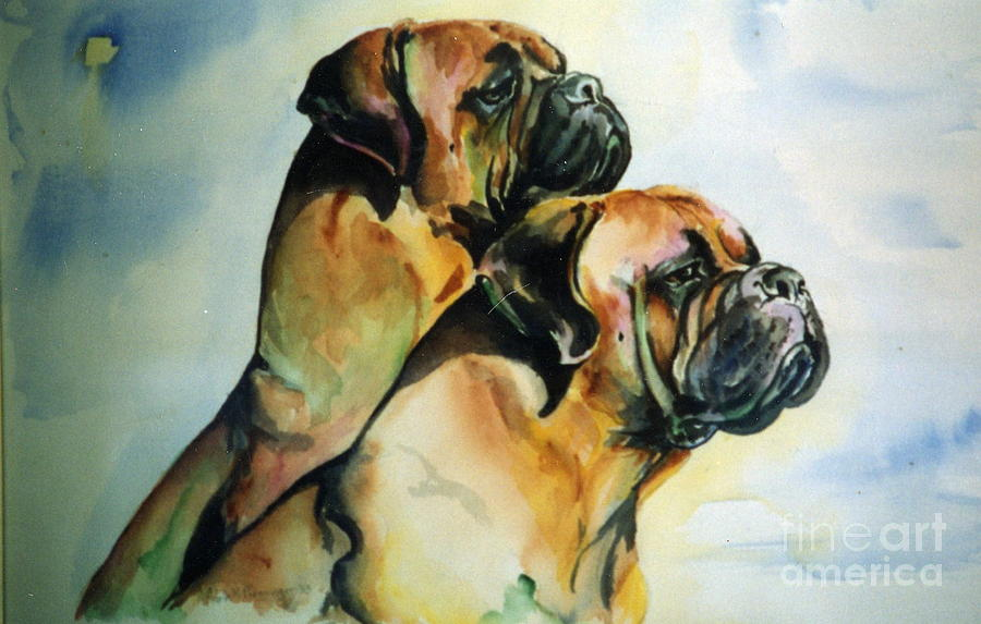Bullmastiff Painting - Two Sisters by Adele Pfenninger