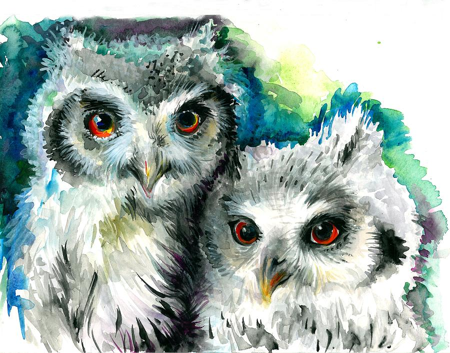 Two Sisters - Polar Owl Offsprings Painting