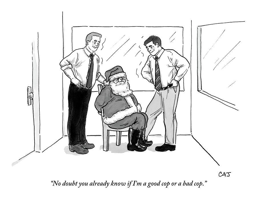 two smiling men interrogate santa claus drawing by carolita johnson