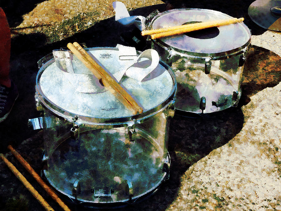 Drum Photograph - Two Snare Drums by Susan Savad