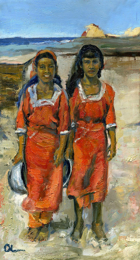 Seaside Painting - Two Socotri Girls In Red Dresses by Lelia Sorokina