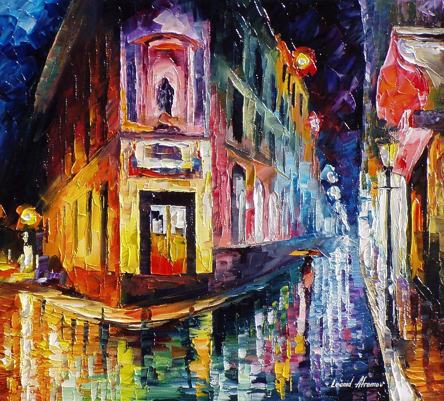 Mysterious Night 2 - Palette Knife Oil Painting On Canvas