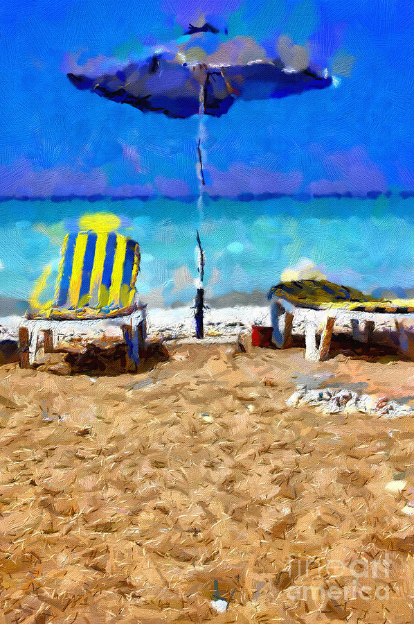 Striped Painting - Two Sun-chairs And Umbrella Painting by Magomed Magomedagaev