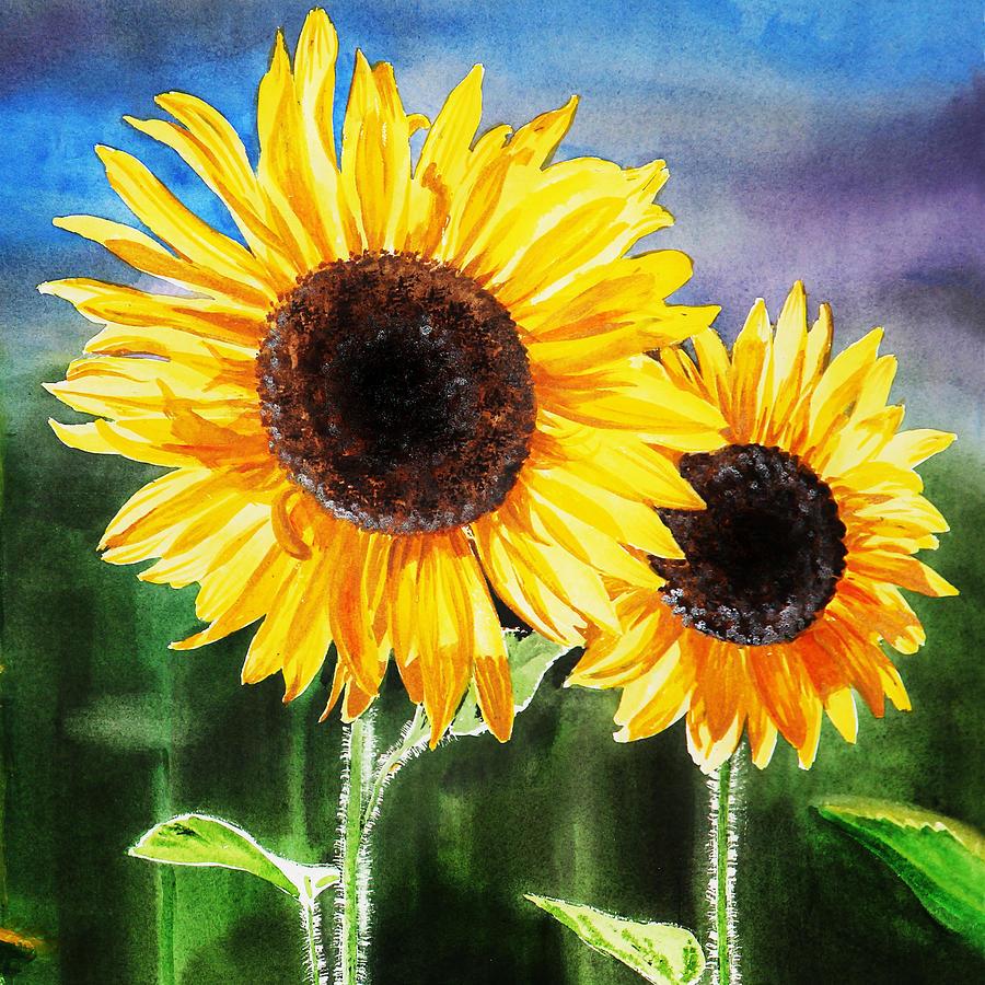 Two Suns Sunflowers Painting by Irina Sztukowski