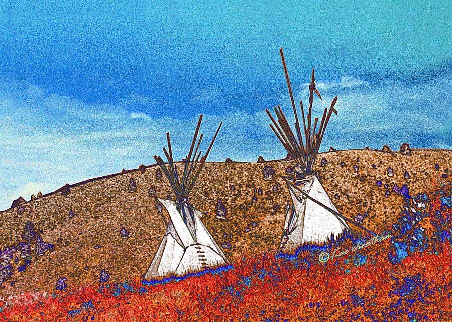 American Indian Digital Art - Two Teepees by Kae Cheatham