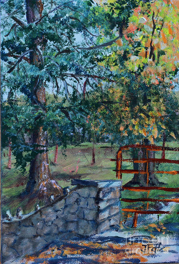 Trees Painting - Two Trees And A Gate by Janet Felts