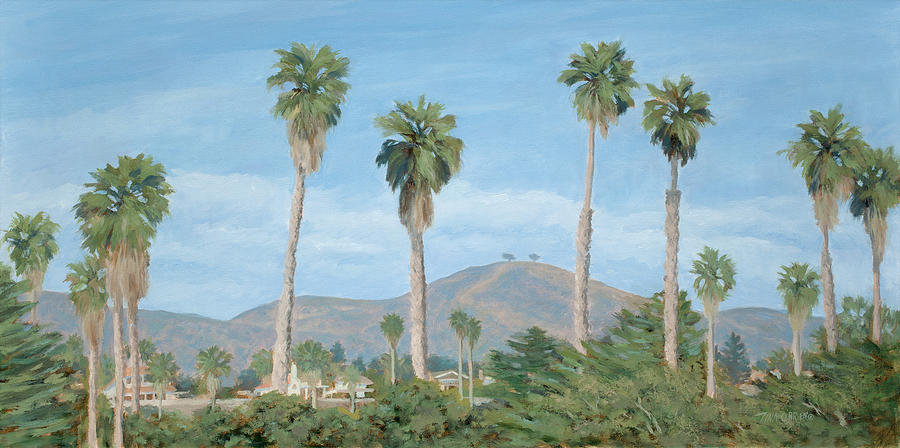 Two Trees Painting - Two Trees From Ventura State Park by Tina Obrien