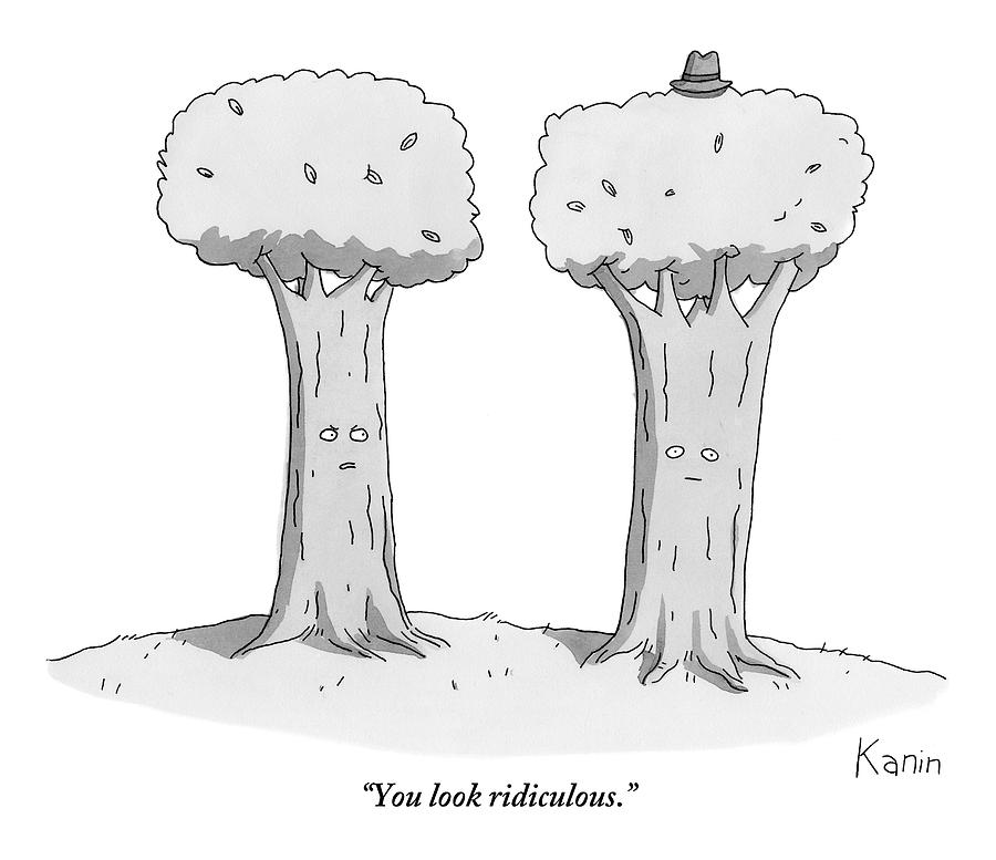 Two Trees With Faces Are Seen Next To Each Other Drawing by Zachary Kanin