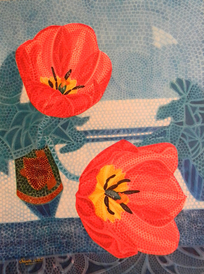 Tulip Painting - Two Tulips by Adel Nemeth