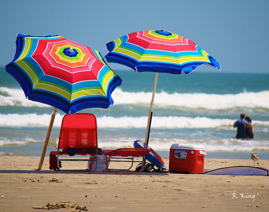 Beach Photograph Two Umbrellas On The Beach In Texas By Roena King
