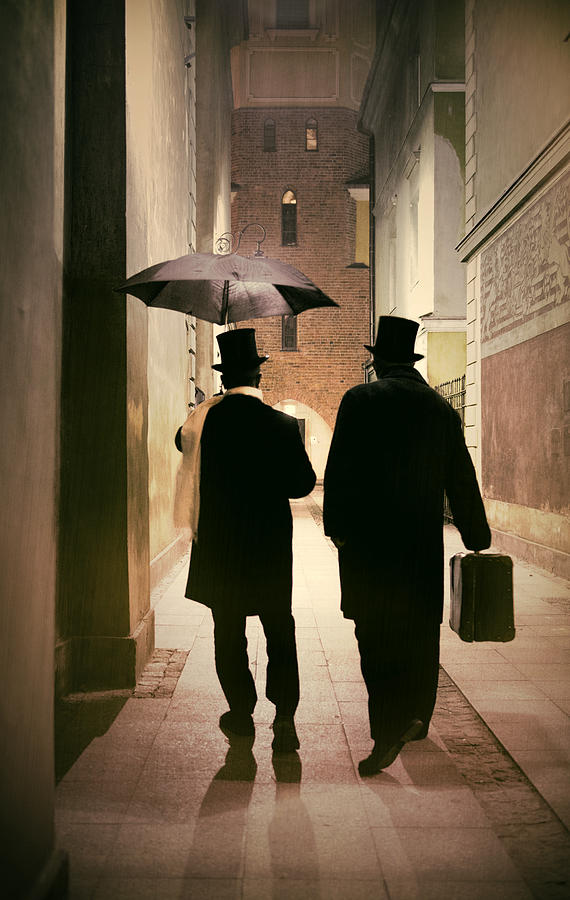 18th Century Photograph - Two Victorian Men Wearing Top Hats In The Old Alley by Jaroslaw Blaminsky