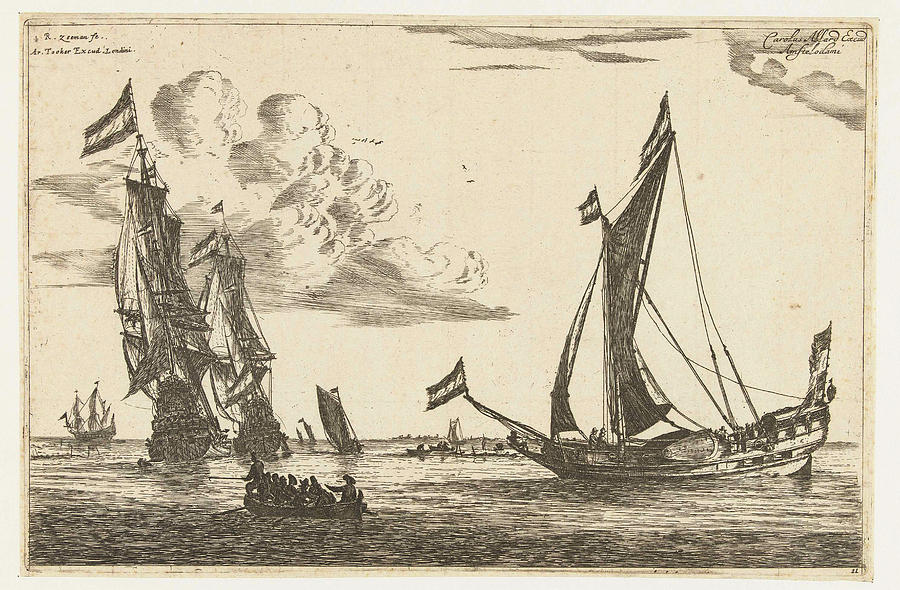 Sailing Ship Drawing - Two Warships And A Yacht, Reinier Nooms by Reinier Nooms