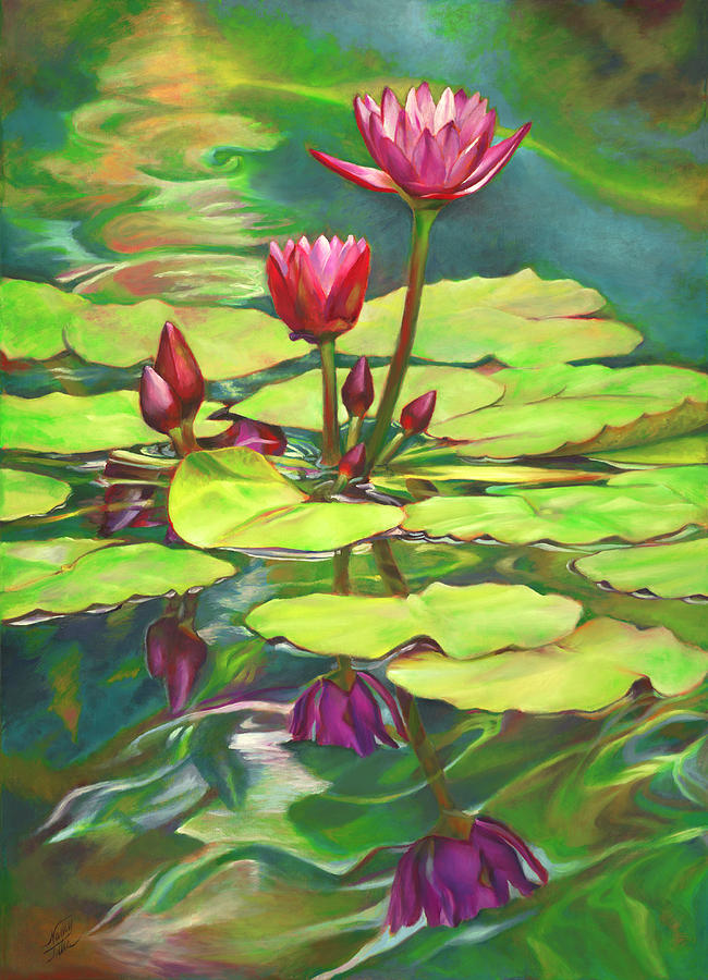 Two Water Lilies And Their Reflections Painting by Nancy ...