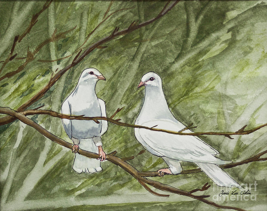 White Painting - Two White Doves by Janis Lee Colon