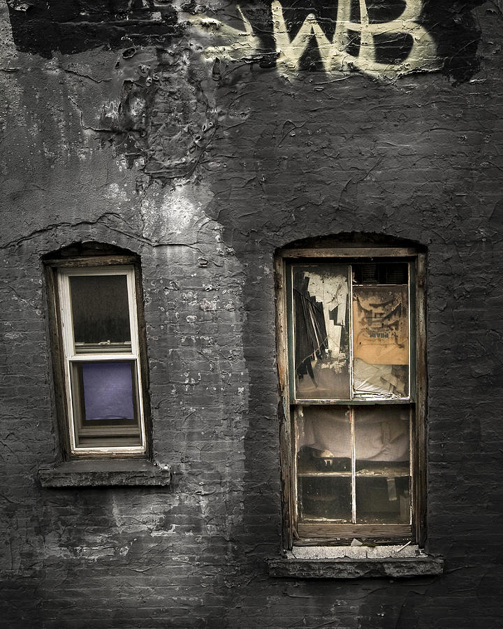 Windows Photograph - Two Windows Old And New - Old Building In New York Chinatown by Gary Heller