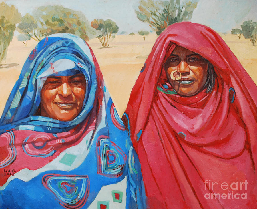 Two Women 2 Painting - Two Women 2 by Mohamed Fadul