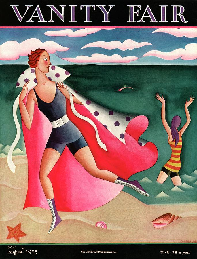 Two Women At The Beach Painting by Miguel Covarrubias