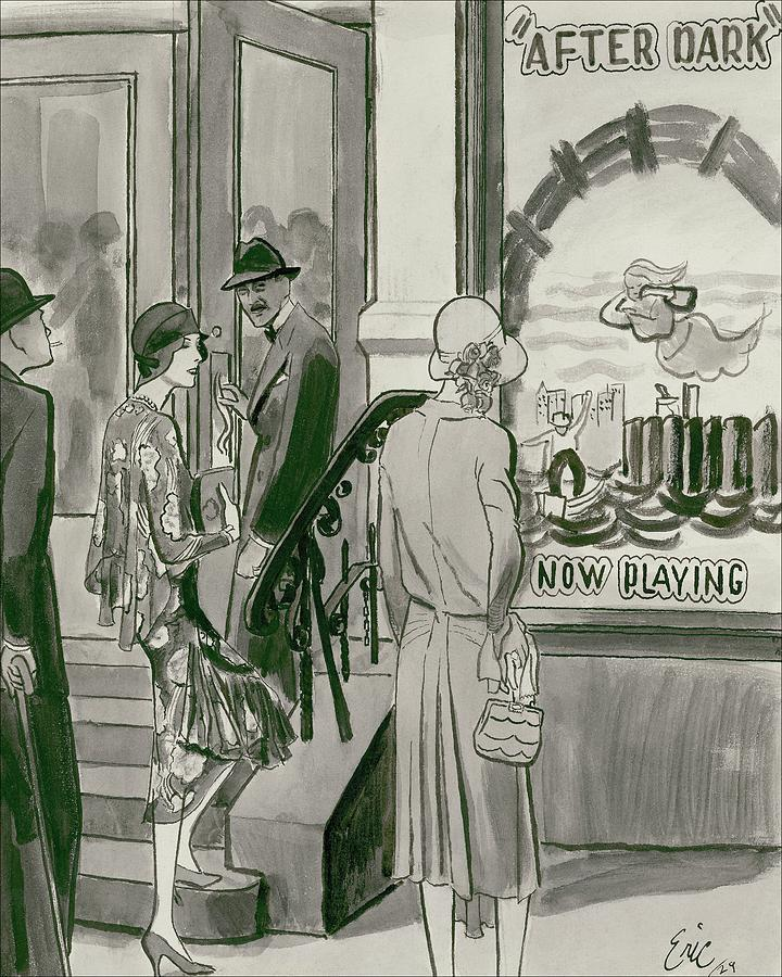 Two Women Attending A Revival Play Wearing Digital Art by Carl Oscar August Erickson
