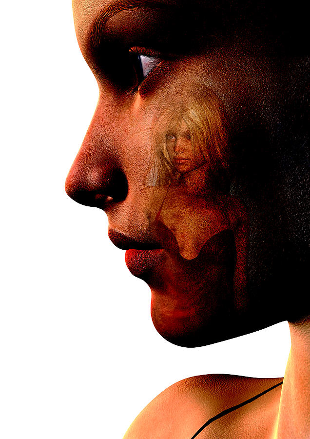Face Digital Art - Two Women by David Ridley