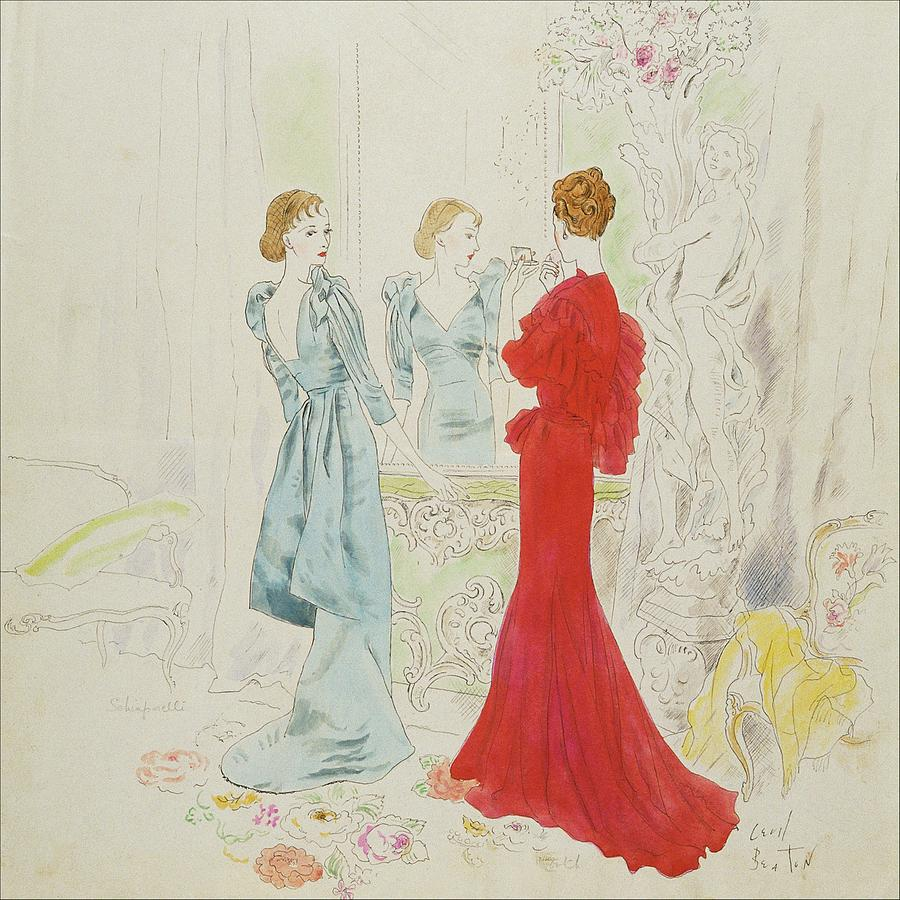 Two Women Getting Ready In Schiaparelli And Worth Digital Art by Cecil Beaton