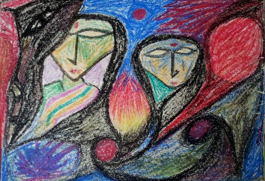 Oil Painting - Two Women by Hari Om Prakash