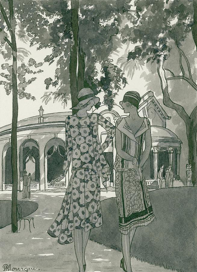 Two Women Walking In A Park Digital Art by Pierre Mourgue