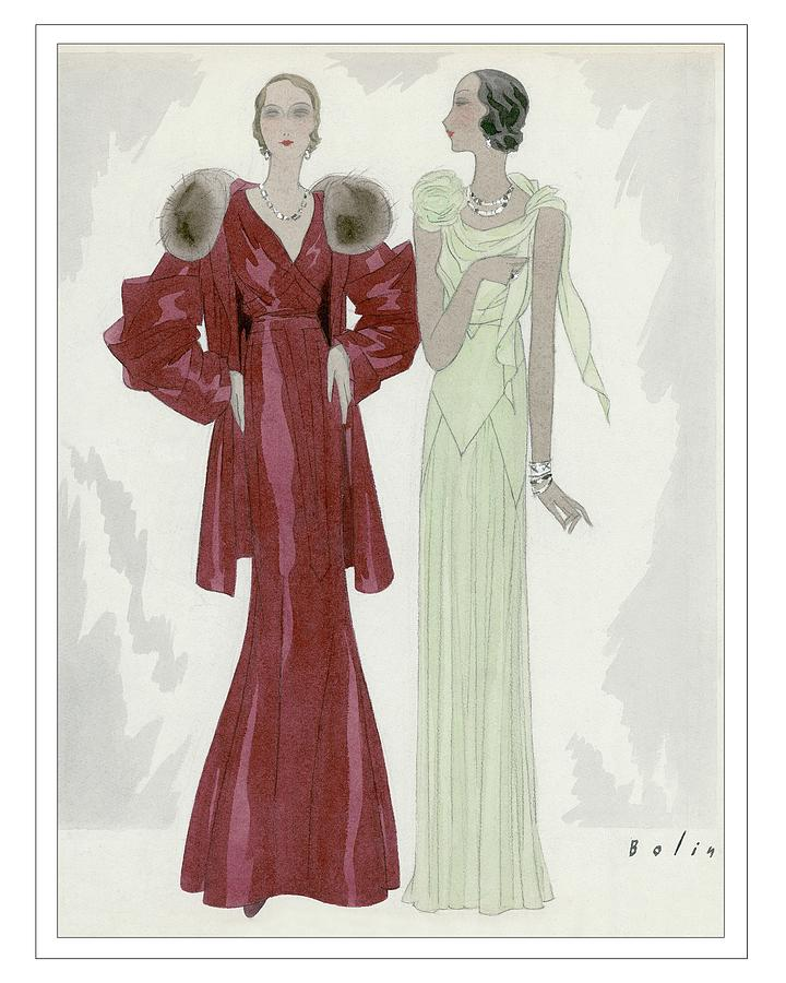 Two Women Wearing Jay-thorpe And Bendel Dresses Digital Art by William Bolin