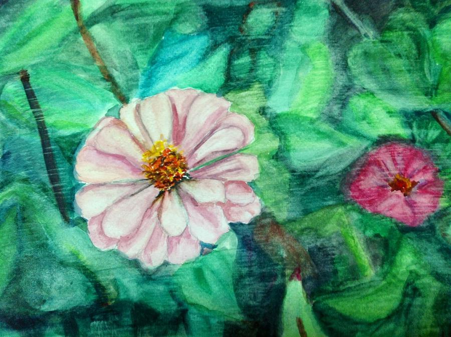 Flowers Painting - Two Worlds by Aditi Bhatt