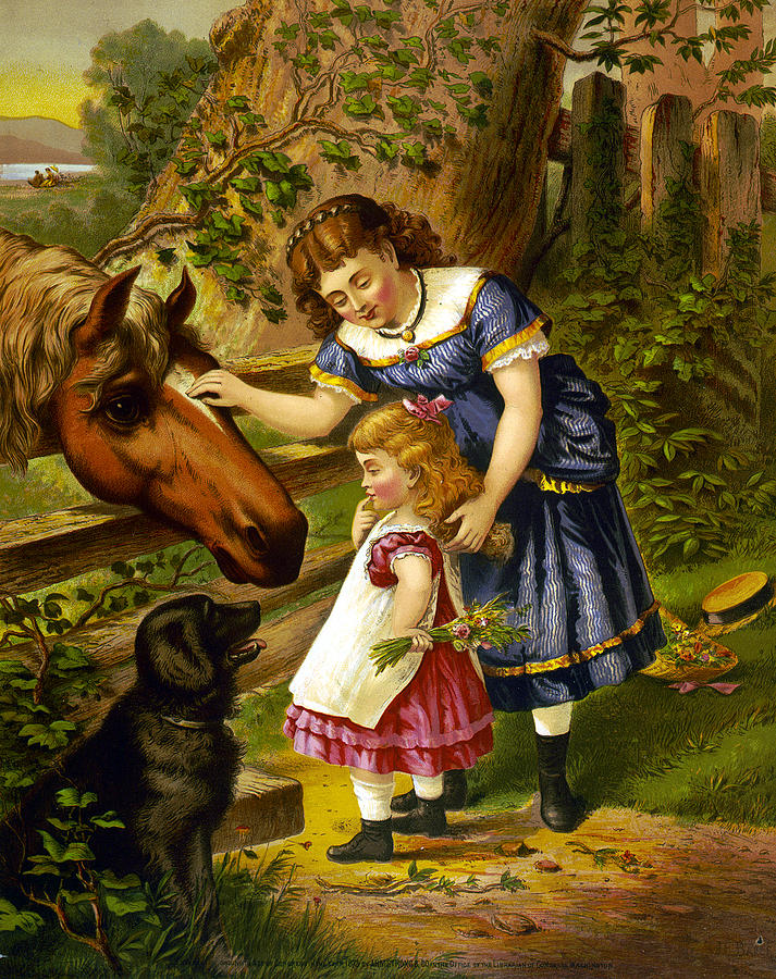 Horse Digital Art - Two Young Girls by Unknown