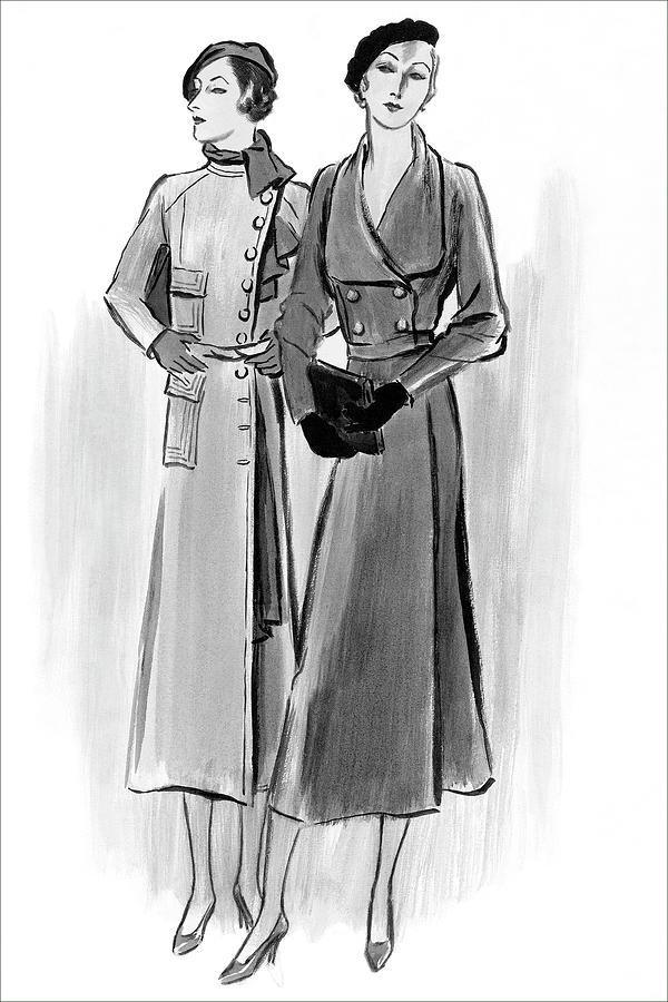 Two Young Women Wearing Lyolene And Mainbocheri Digital Art by Creelman