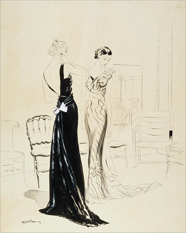 Two Young Women Wearing Schiaparelli Evening Digital Art by Rene Bouet-Willaumez